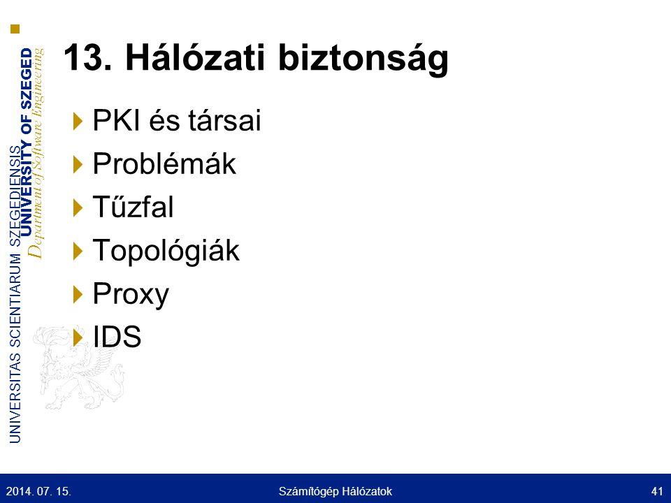 13. Hálózati biztonság PKI és társai Problémák Tűzfal Topológiák Proxy
