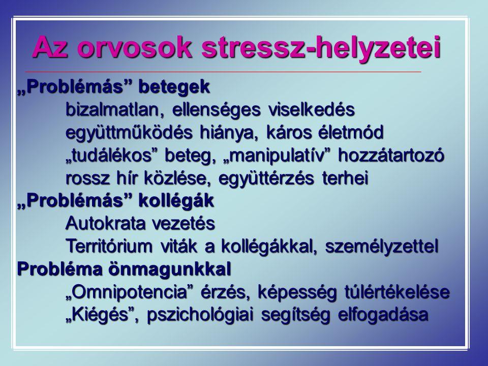 Az orvosok stressz-helyzetei