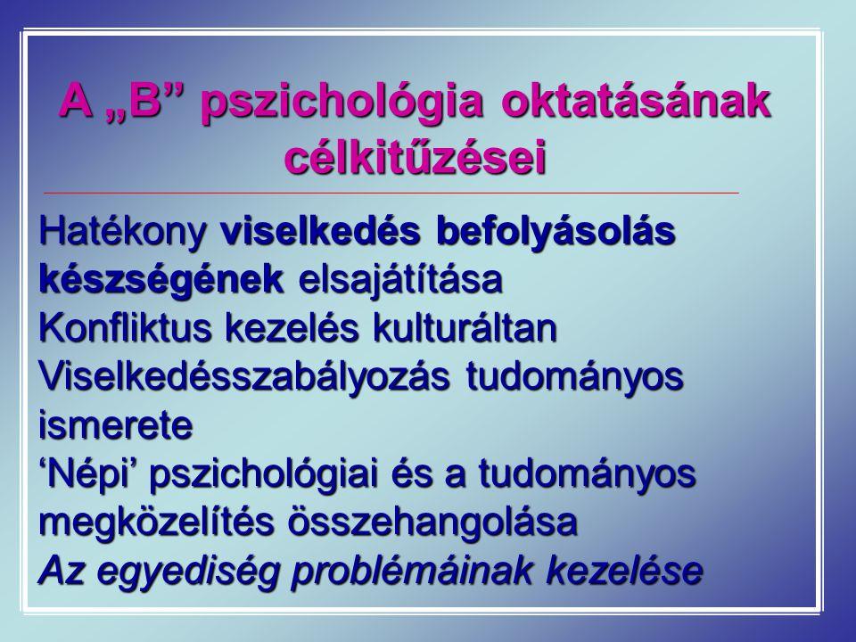 """A """"B pszichológia oktatásának célkitűzései"""