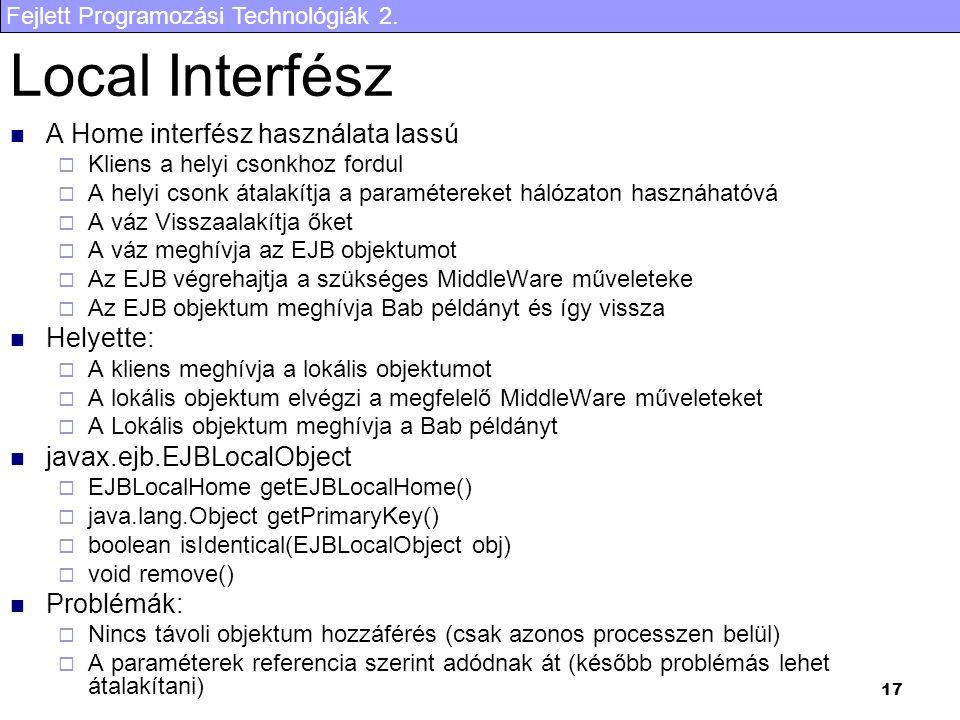 Local Interfész A Home interfész használata lassú Helyette: