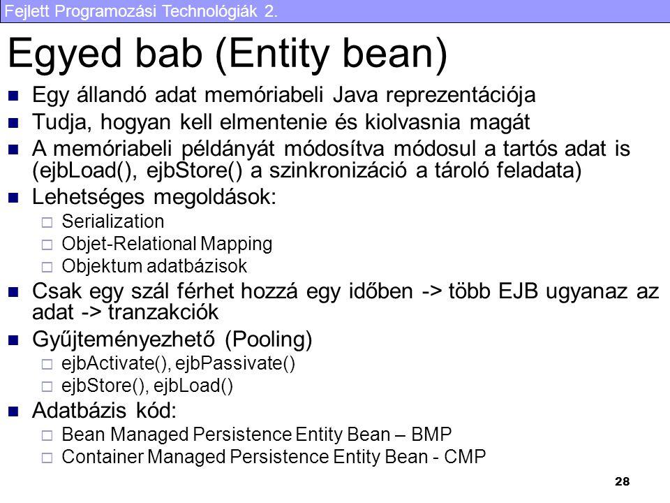 Egyed bab (Entity bean)