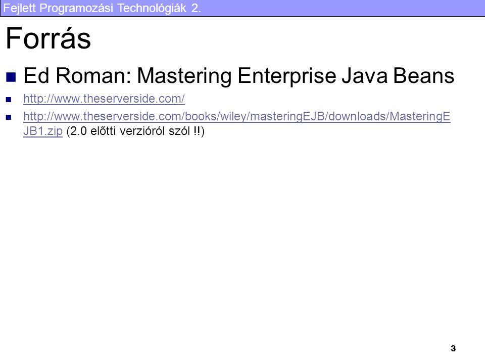 Forrás Ed Roman: Mastering Enterprise Java Beans