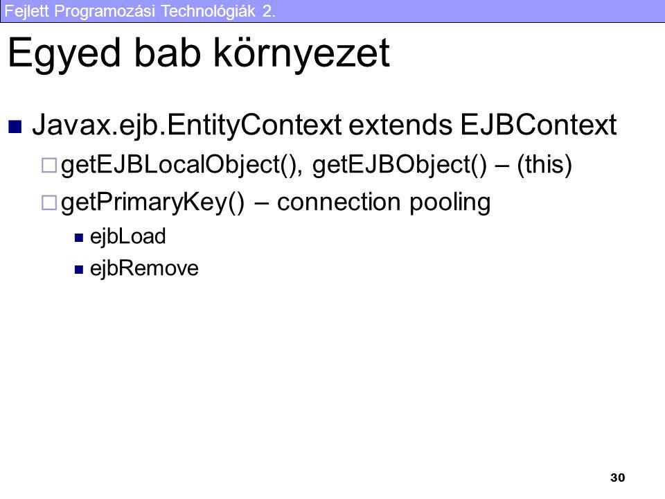 Egyed bab környezet Javax.ejb.EntityContext extends EJBContext