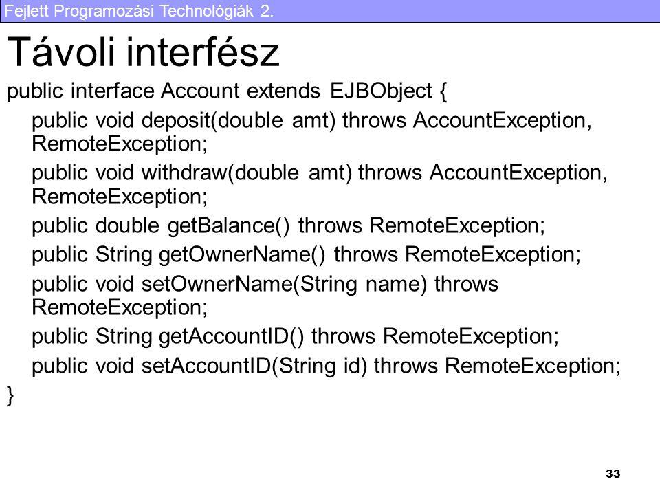 Távoli interfész public interface Account extends EJBObject {