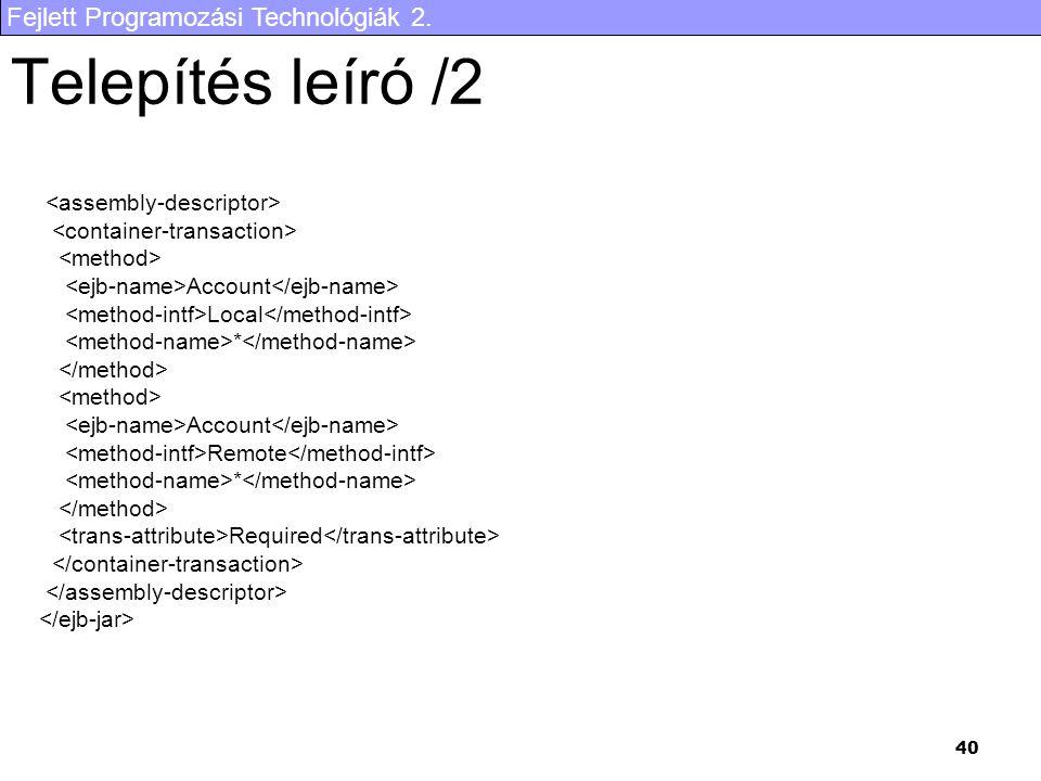 Telepítés leíró /2 <assembly-descriptor>