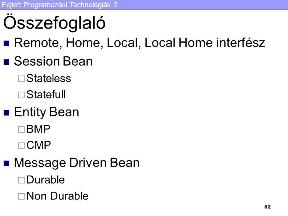 Összefoglaló Remote, Home, Local, Local Home interfész Session Bean