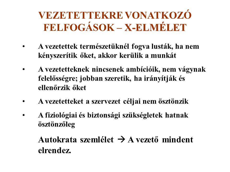 VEZETETTEKRE VONATKOZÓ FELFOGÁSOK – X-ELMÉLET