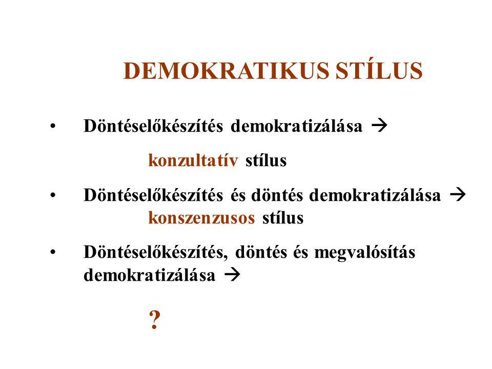 DEMOKRATIKUS STÍLUS Döntéselőkészítés demokratizálása 