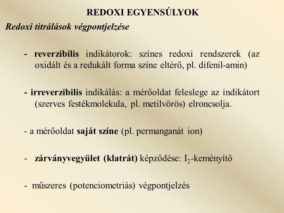 REDOXI EGYENSÚLYOK Redoxi titrálások végpontjelzése.