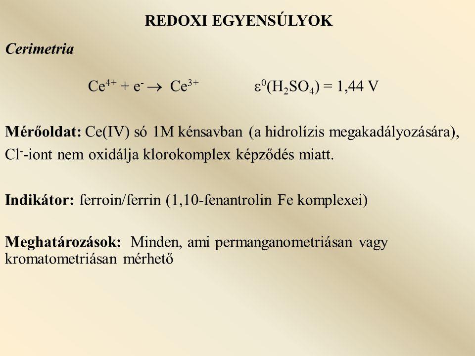 REDOXI EGYENSÚLYOK Cerimetria. Ce4+ + e-  Ce3+ 0(H2SO4) = 1,44 V.
