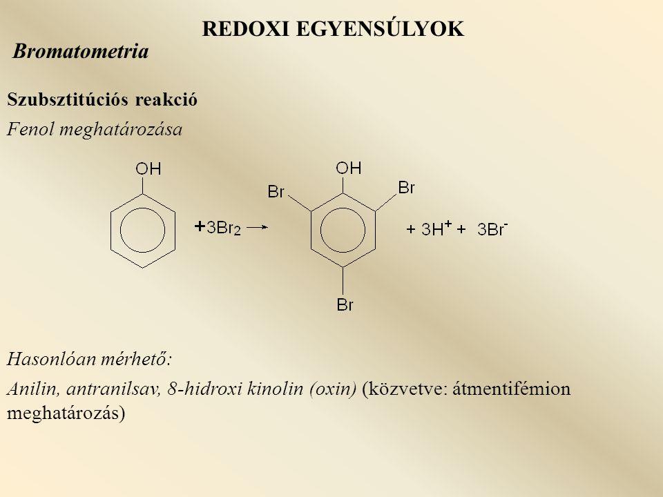 REDOXI EGYENSÚLYOK Bromatometria Szubsztitúciós reakció