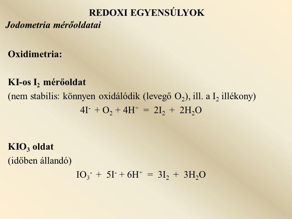 REDOXI EGYENSÚLYOK Jodometria mérőoldatai. Oxidimetria: KI-os I2 mérőoldat. (nem stabilis: könnyen oxidálódik (levegő O2), ill. a I2 illékony)