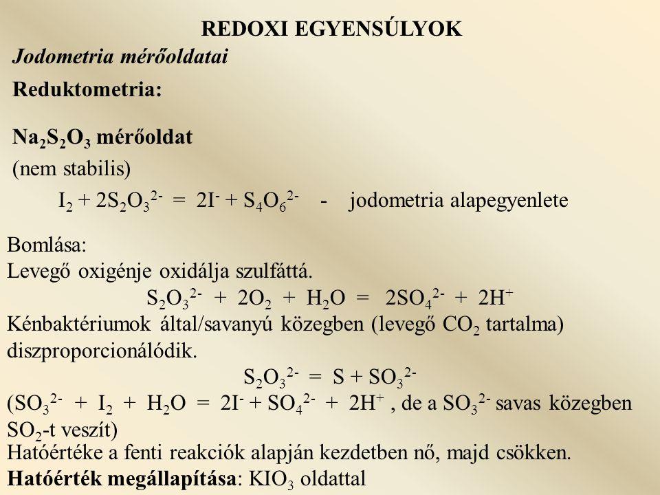 I2 + 2S2O32- = 2I- + S4O62- - jodometria alapegyenlete