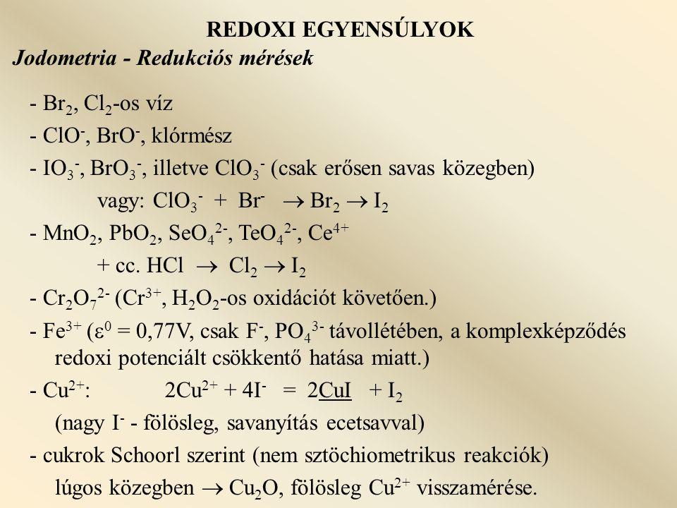REDOXI EGYENSÚLYOK Jodometria - Redukciós mérések. - Br2, Cl2-os víz. - ClO-, BrO-, klórmész.