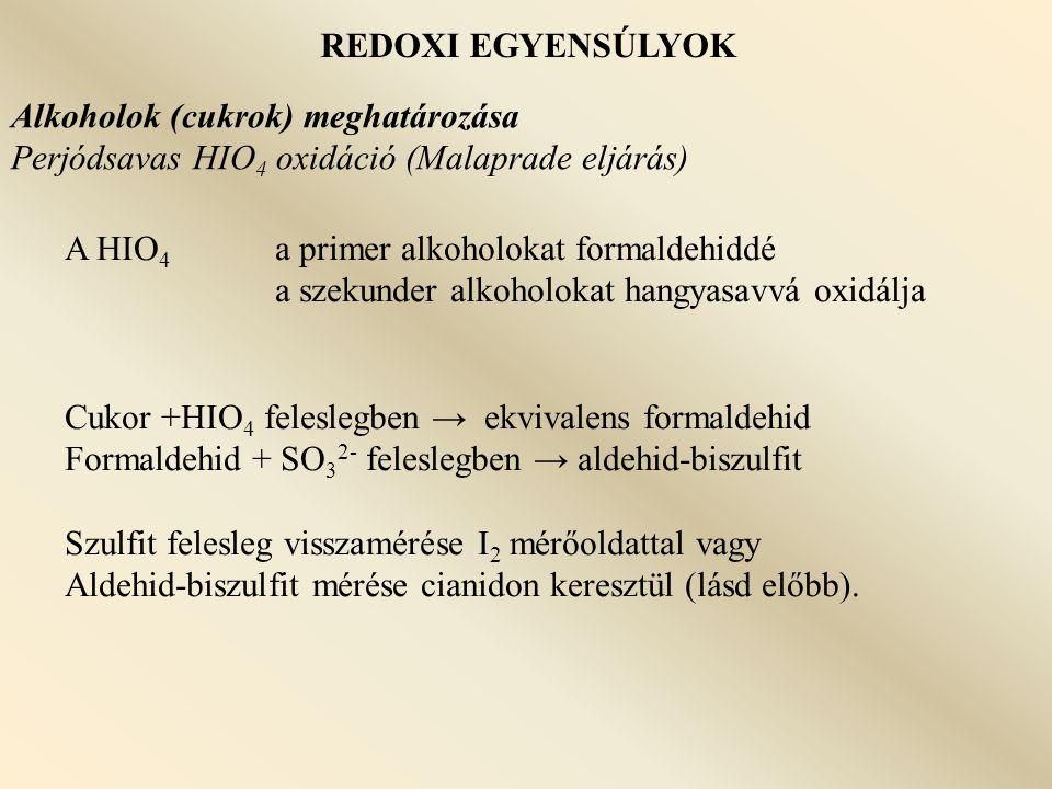 REDOXI EGYENSÚLYOK Alkoholok (cukrok) meghatározása. Perjódsavas HIO4 oxidáció (Malaprade eljárás)