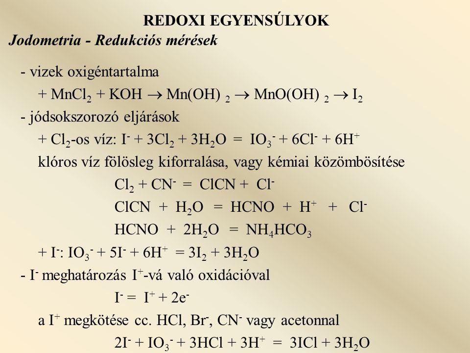 REDOXI EGYENSÚLYOK Jodometria - Redukciós mérések. - vizek oxigéntartalma. + MnCl2 + KOH  Mn(OH) 2  MnO(OH) 2  I2.