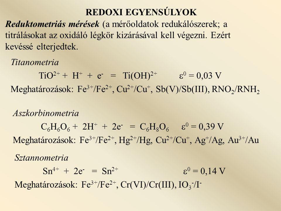 REDOXI EGYENSÚLYOK