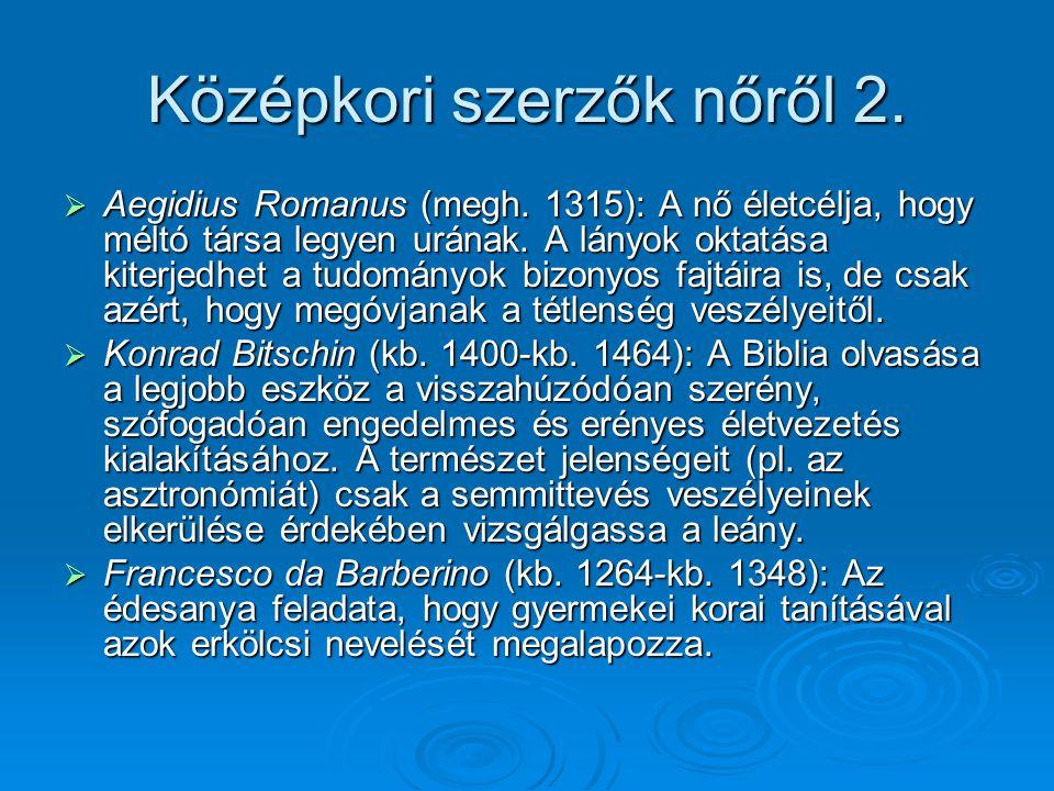 Középkori szerzők nőről 2.