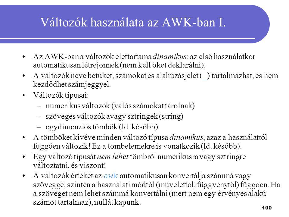 Változók használata az AWK-ban I.