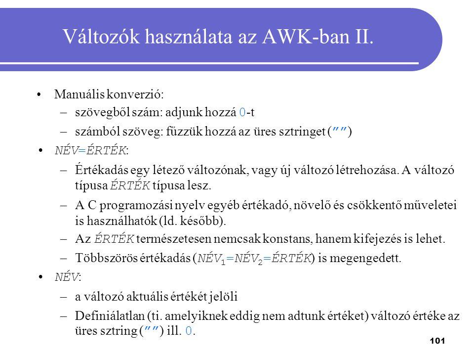 Változók használata az AWK-ban II.