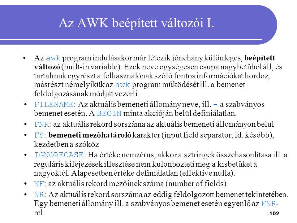 Az AWK beépített változói I.