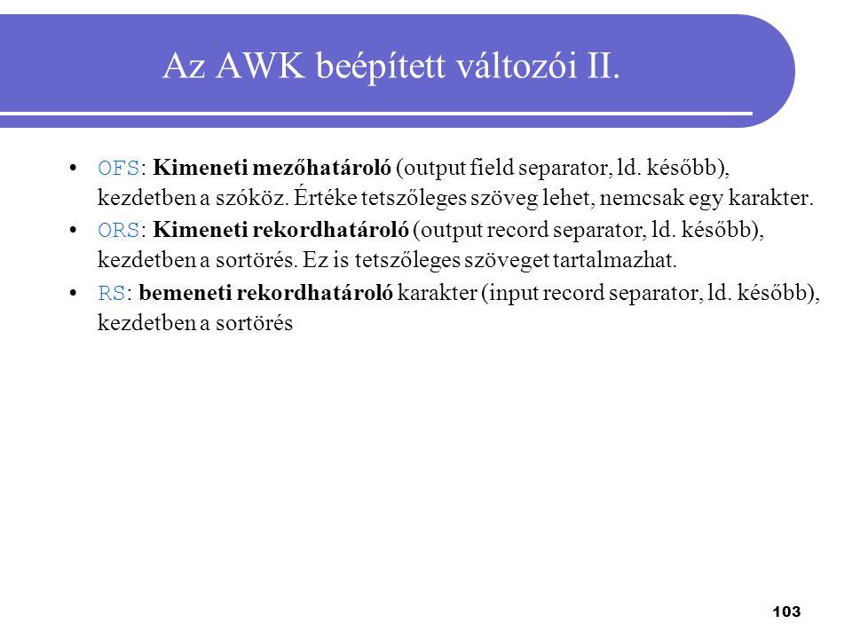 Az AWK beépített változói II.