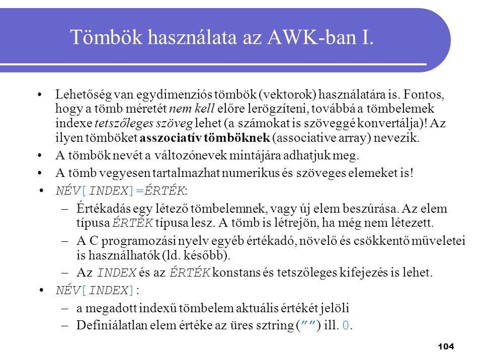 Tömbök használata az AWK-ban I.