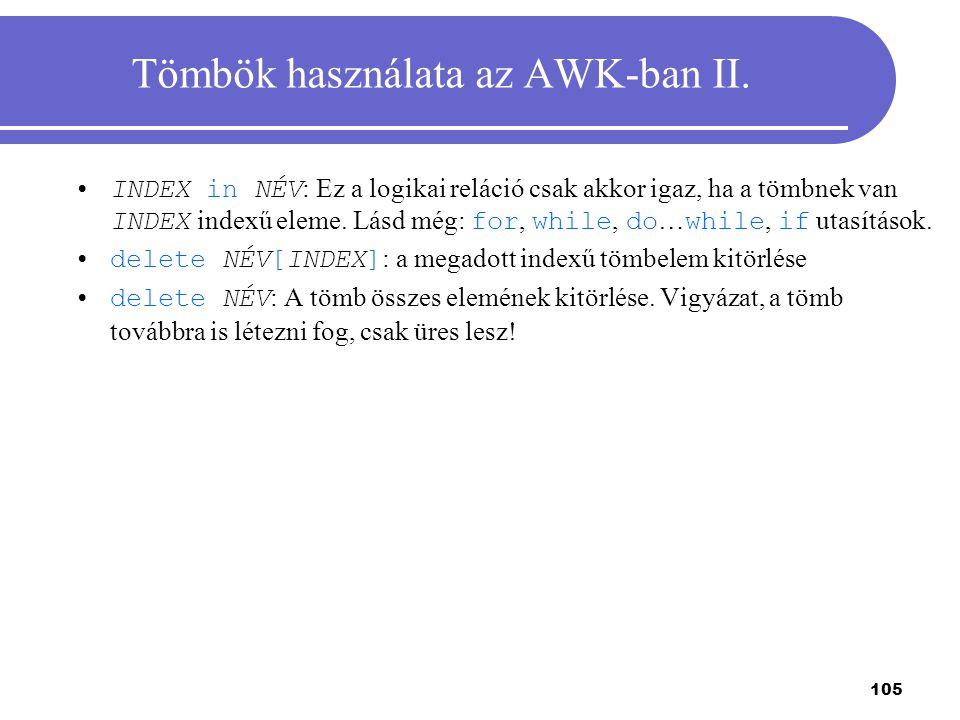 Tömbök használata az AWK-ban II.