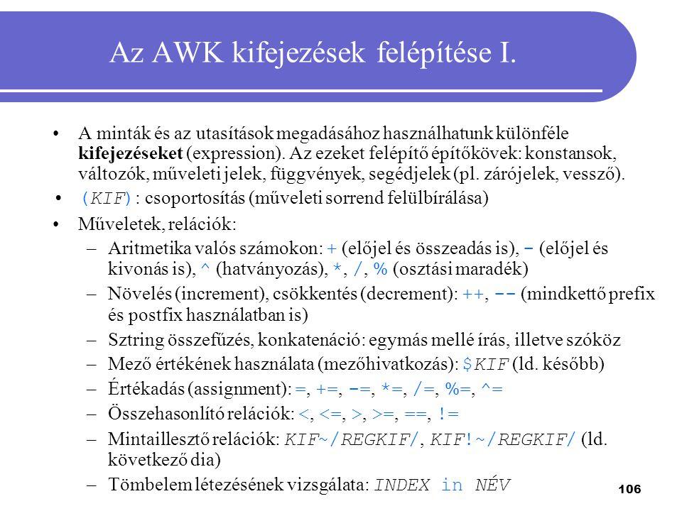 Az AWK kifejezések felépítése I.