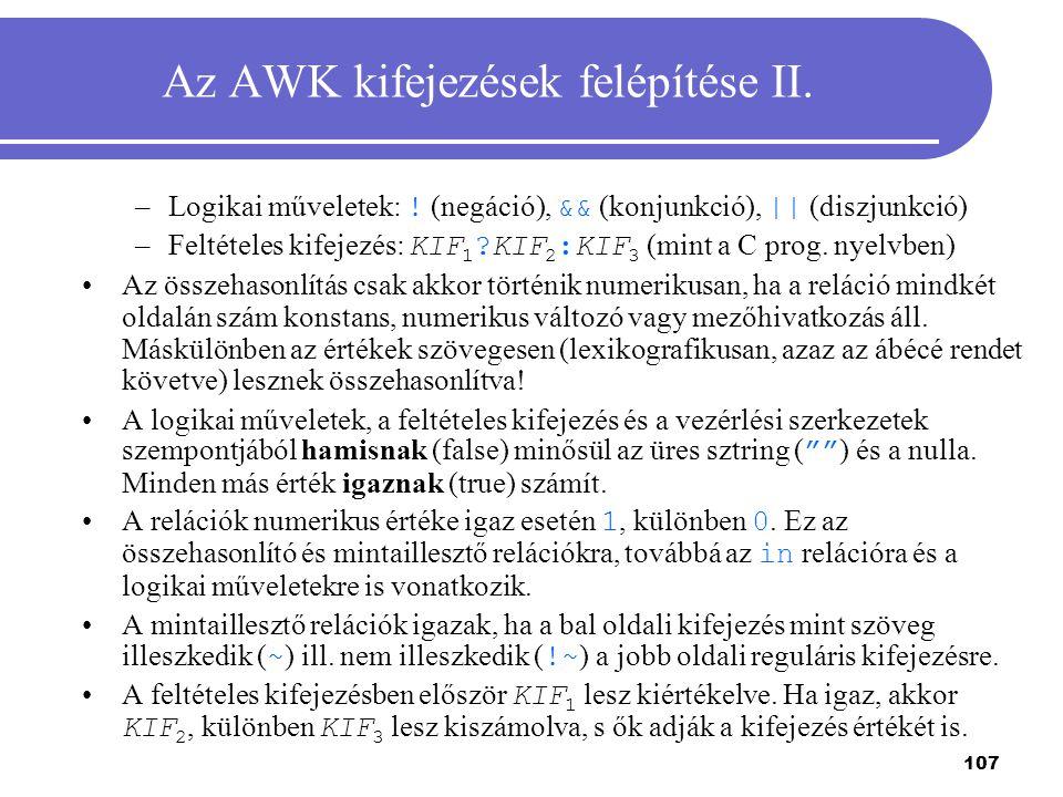 Az AWK kifejezések felépítése II.