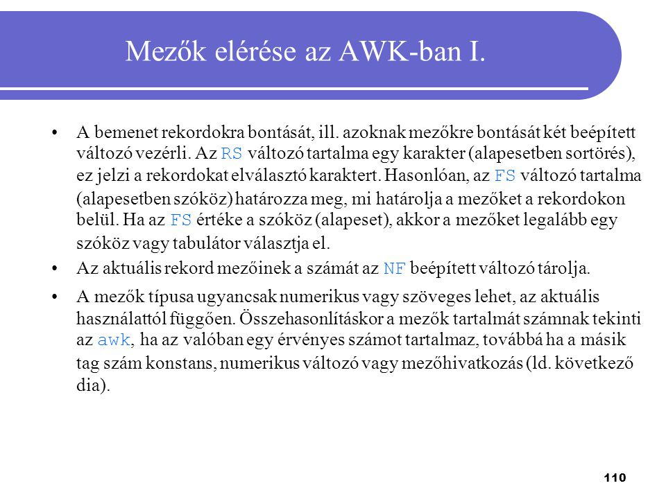 Mezők elérése az AWK-ban I.