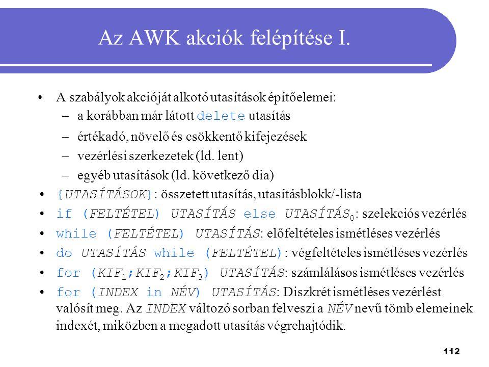 Az AWK akciók felépítése I.