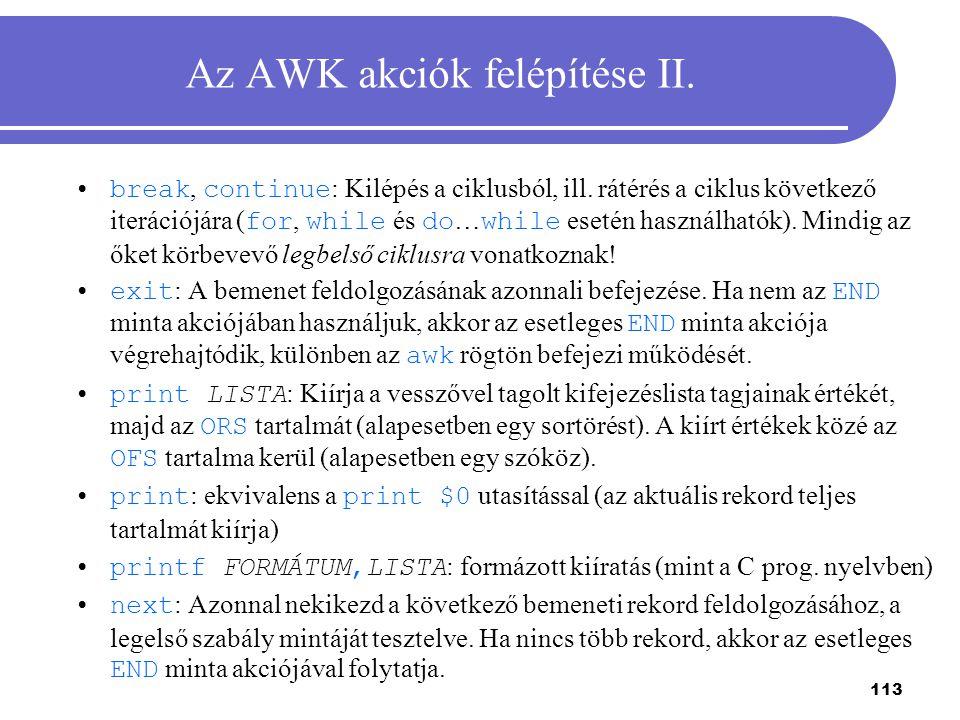Az AWK akciók felépítése II.