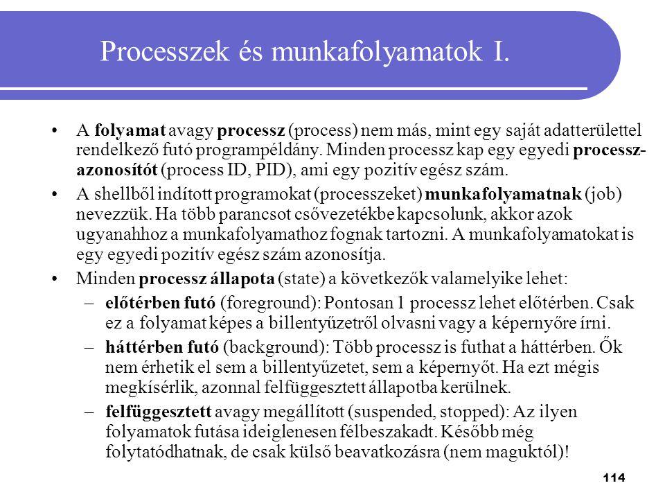 Processzek és munkafolyamatok I.