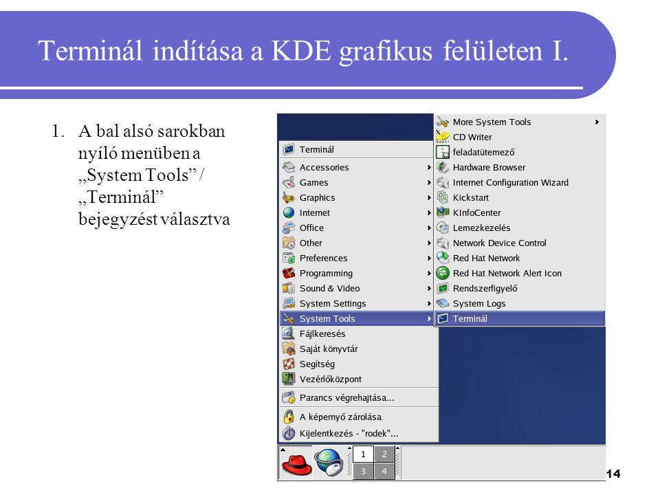 Terminál indítása a KDE grafikus felületen I.