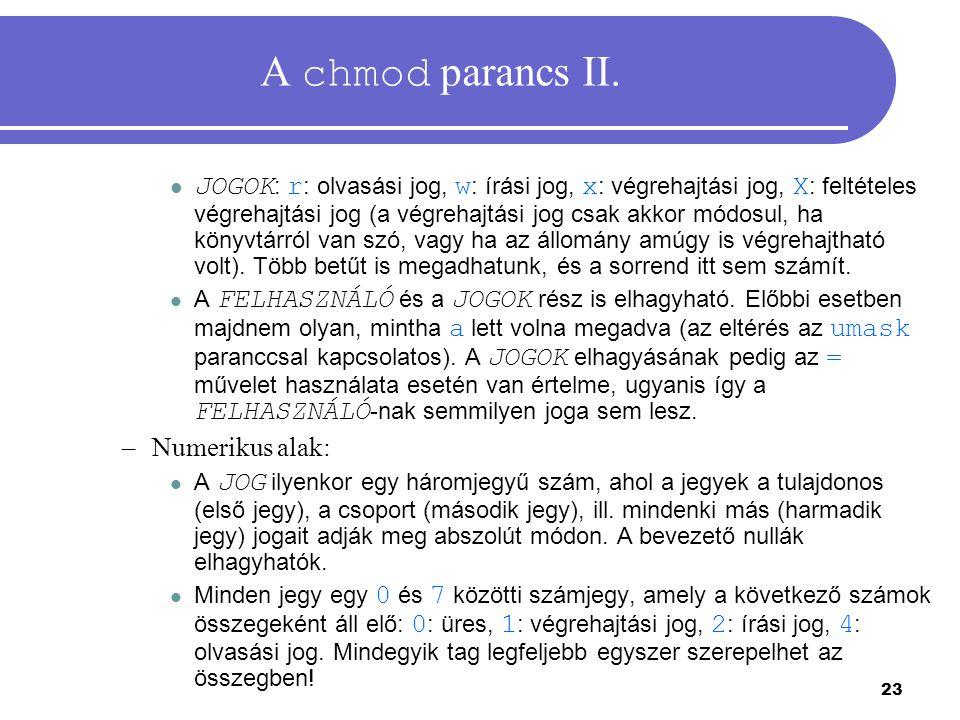 A chmod parancs II.