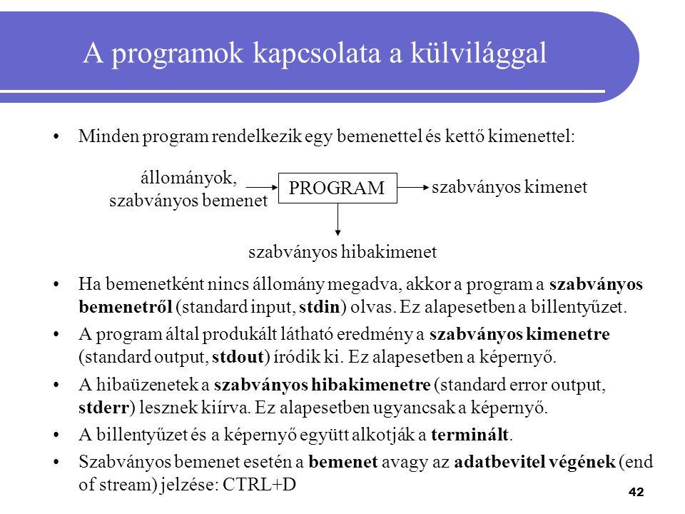 A programok kapcsolata a külvilággal