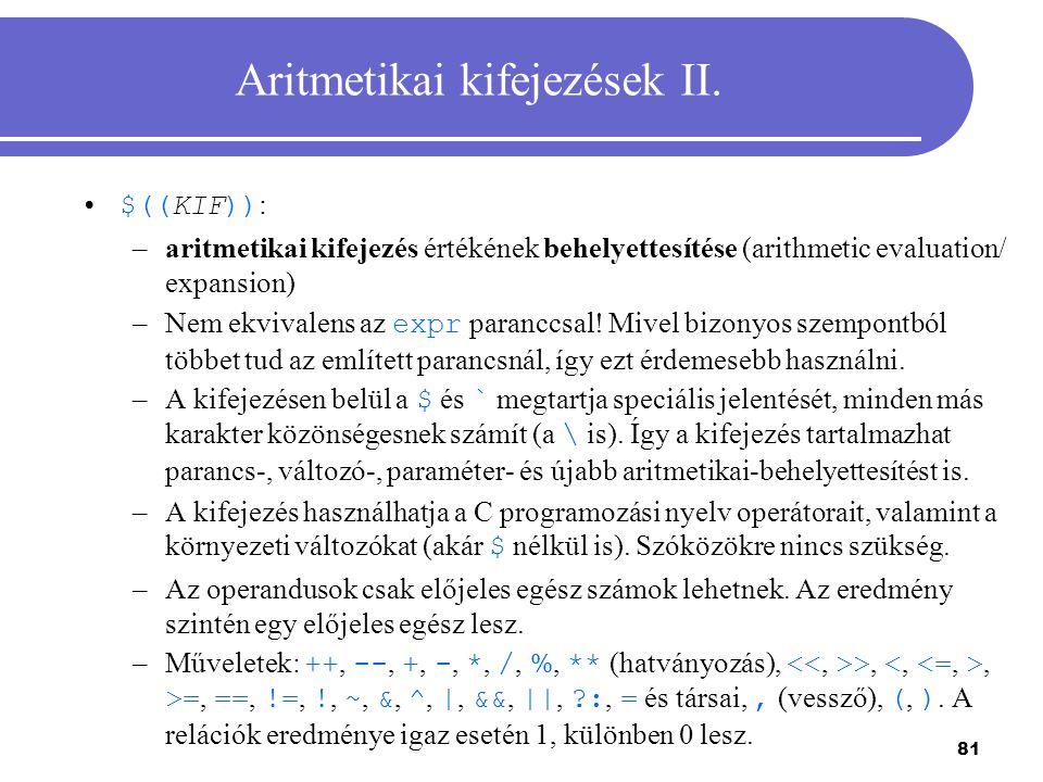 Aritmetikai kifejezések II.