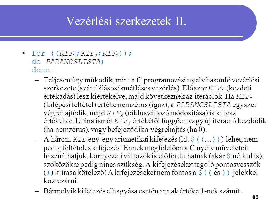Vezérlési szerkezetek II.