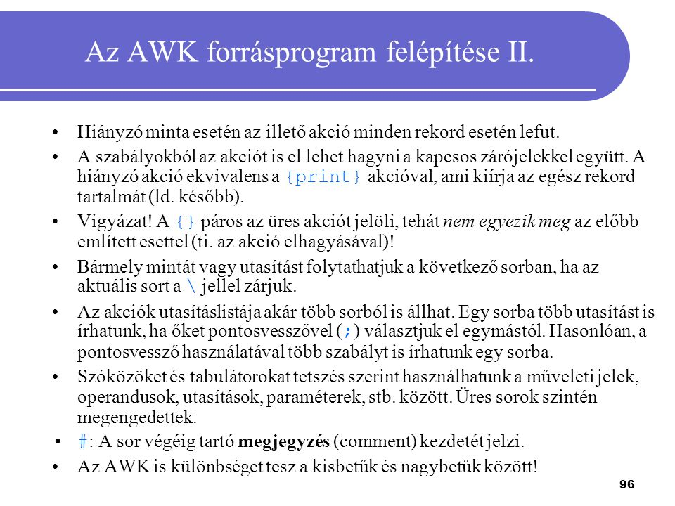 Az AWK forrásprogram felépítése II.