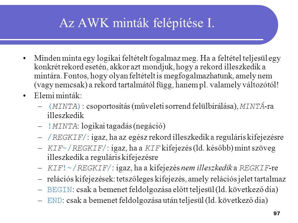 Az AWK minták felépítése I.