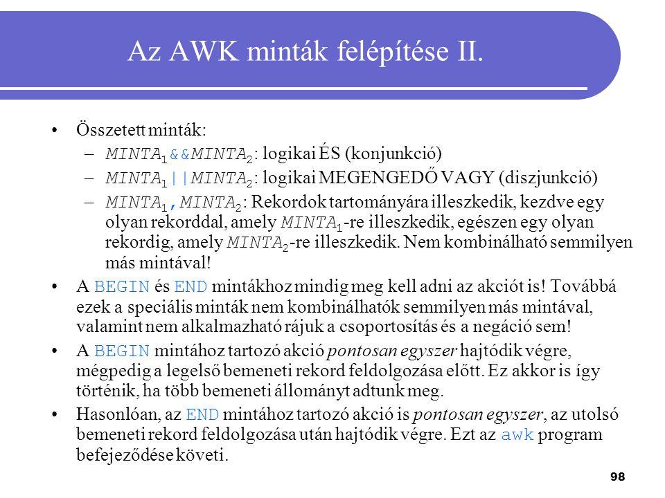 Az AWK minták felépítése II.