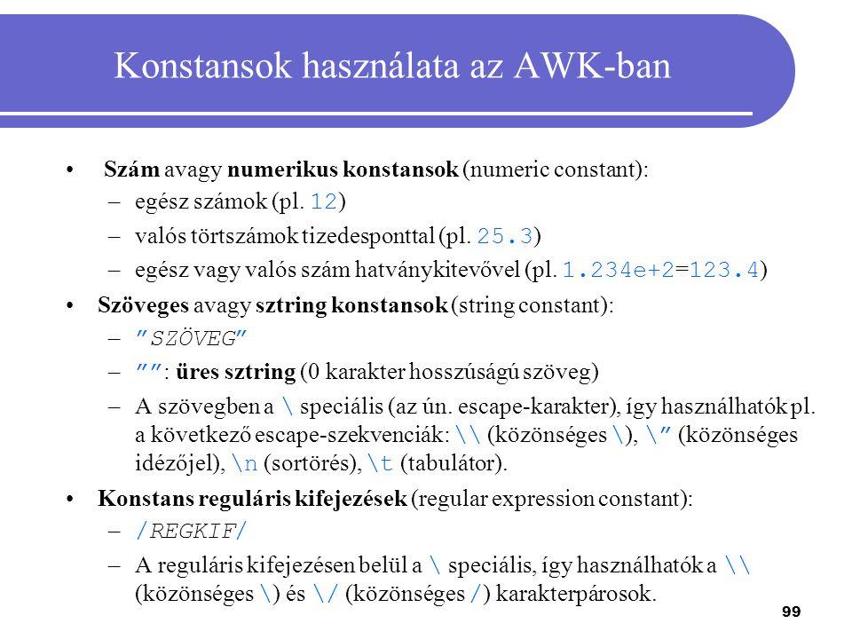 Konstansok használata az AWK-ban
