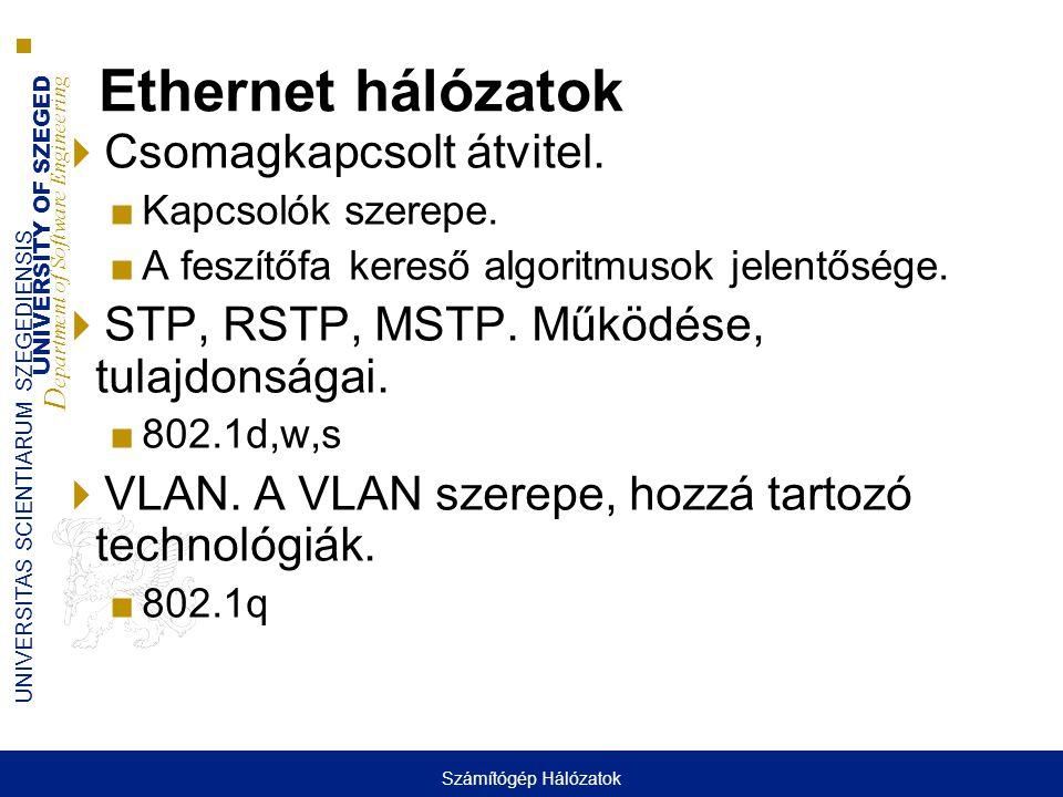 Ethernet hálózatok Csomagkapcsolt átvitel.