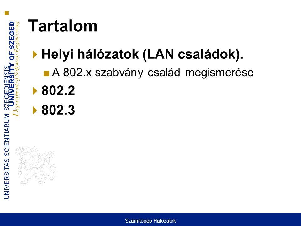 Tartalom Helyi hálózatok (LAN családok). 802.2 802.3