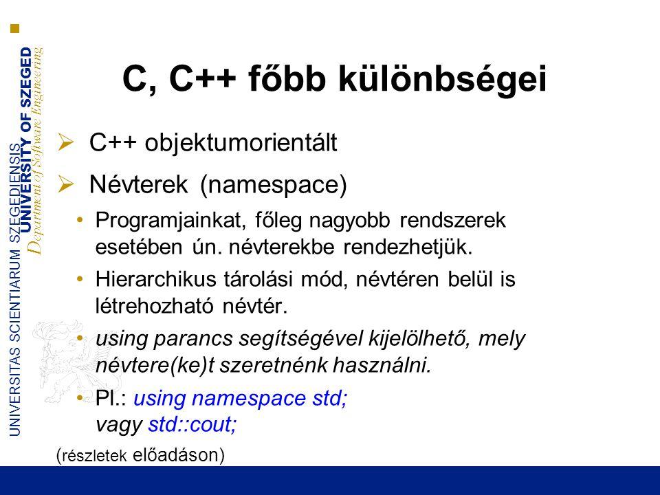 C, C++ főbb különbségei C++ objektumorientált Névterek (namespace)