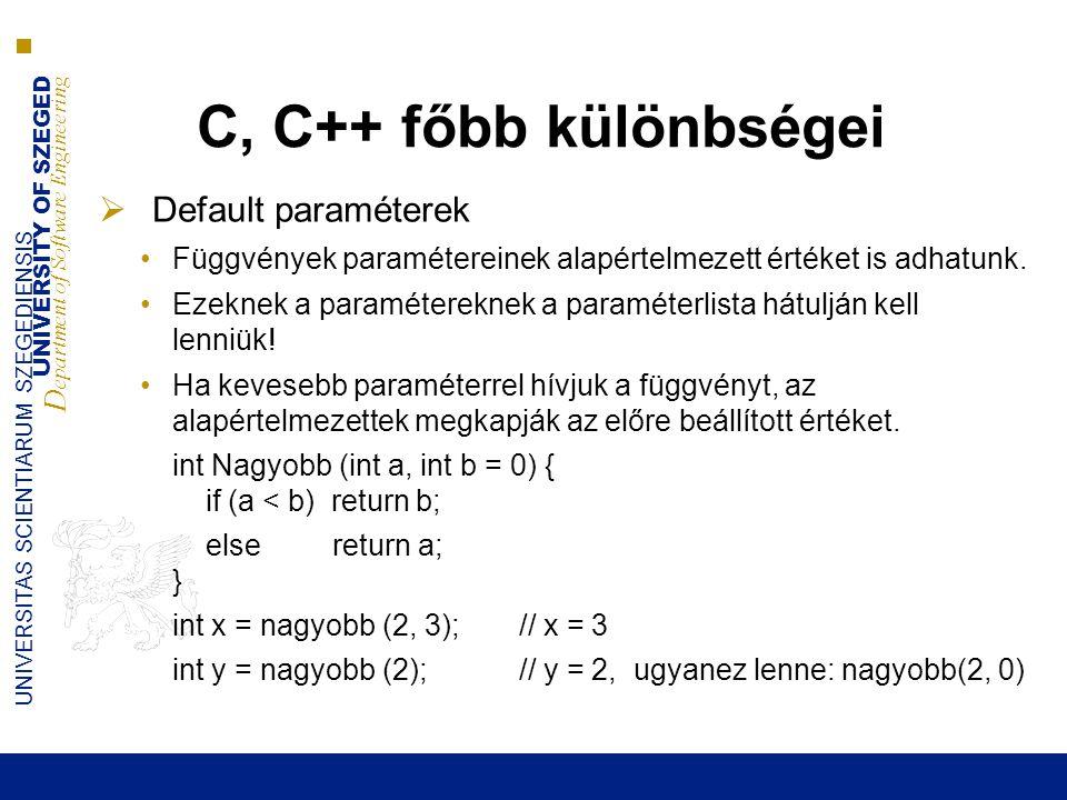 C, C++ főbb különbségei Default paraméterek
