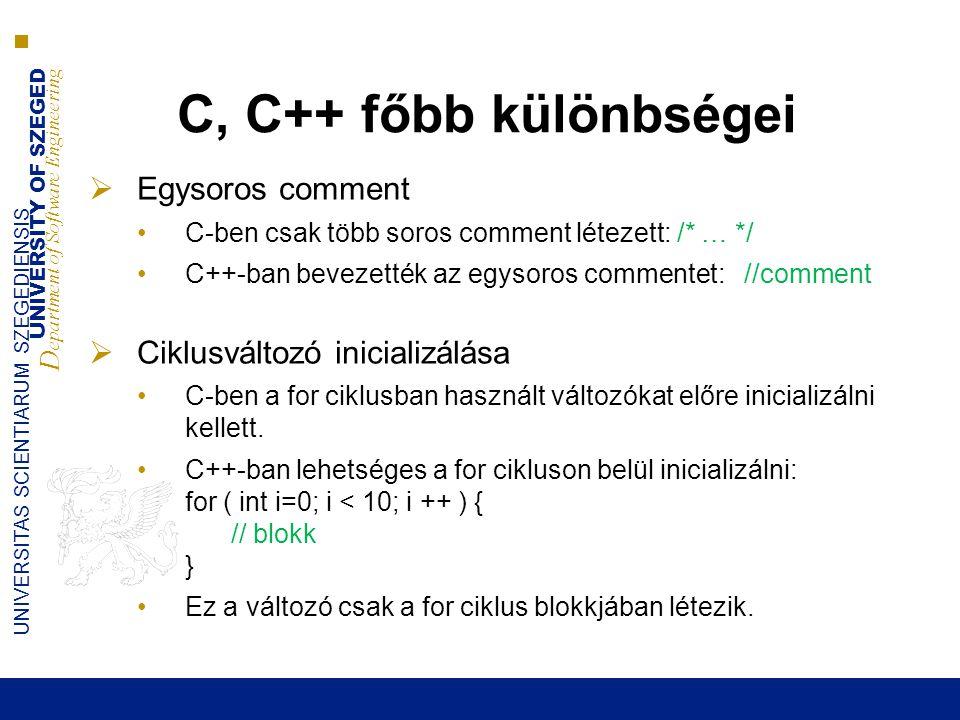 C, C++ főbb különbségei Egysoros comment Ciklusváltozó inicializálása