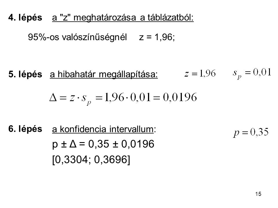 4. lépés a z meghatározása a táblázatból: 95%-os valószínűségnél z = 1,96; 5. lépés. a hibahatár megállapítása: