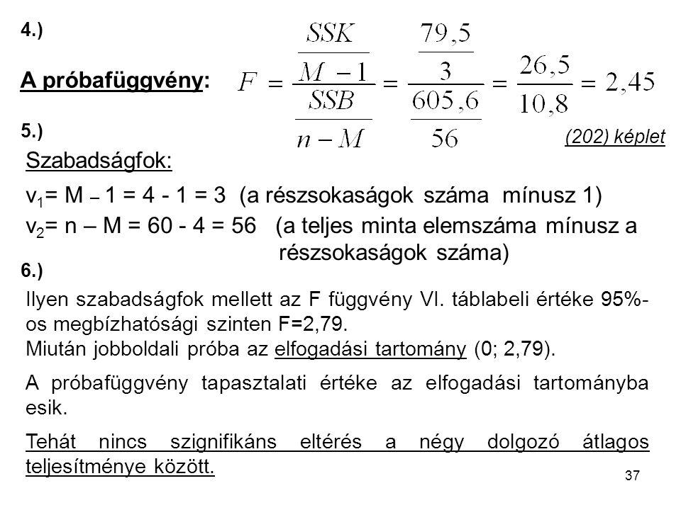 v1= M – 1 = 4 - 1 = 3 (a részsokaságok száma mínusz 1)